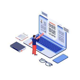 Illustrazione isometrica di vettore di copywriting