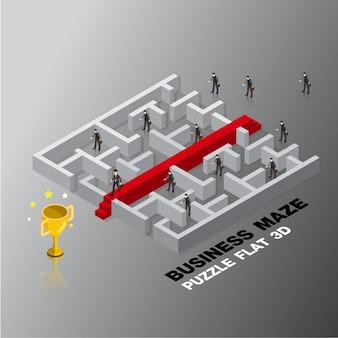 Illustrazione isometrica di vettore di progettazione di concetto 3d del labirinto di successo del capo di affari