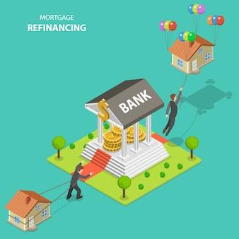 Illustrazione isometrica di vettore di rifinanziamento di rifinanziamento di ipoteca.