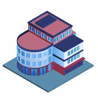 Illustrazione isometrica di vettore isolata edificio per uffici urbano moderno 3d di affari