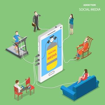 Illustrazione isometrica di vettore piano di addction sociale di media.