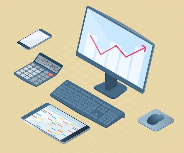 Illustrazione isometrica di vettore piatto di apparecchiature elettroniche per ufficio: desktop pc, telefono cellulare, tablet pc, calcolatrice matematica.