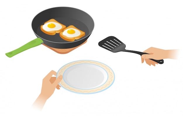 Illustrazione isometrica di vettore piatto di padella con uova strapazzate sui toast, mani con la spatola di cottura e piastra.