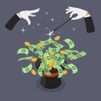 Illustrazione isometrica di vettore piatto di soldi facili.