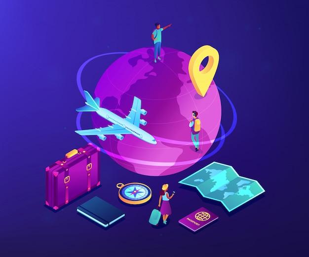 Illustrazione isometrica di viaggio globale di concetto 3d.