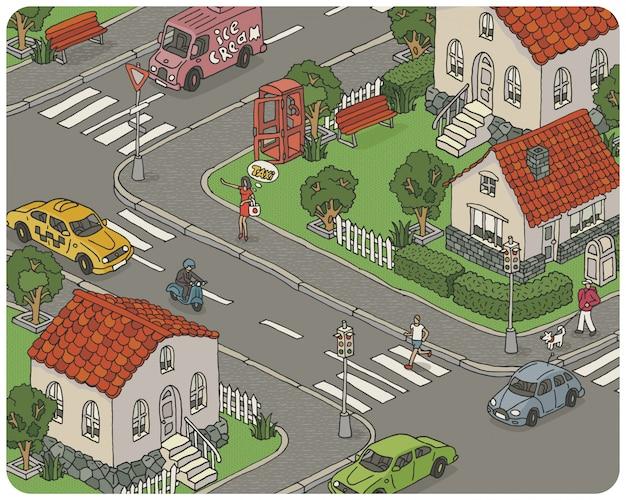 Illustrazione isometrica disegnata a mano della città con case, automobili, alberi e persone