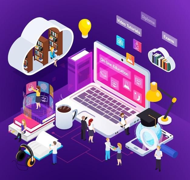 Illustrazione isometrica educazione online