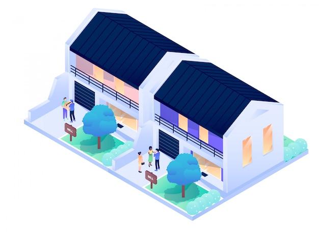 Illustrazione isometrica esteriore interna di progettazione di vettore della città della residenza della camera