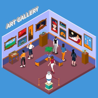 Illustrazione isometrica galleria d'arte