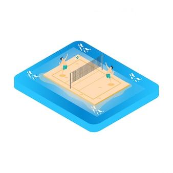 Illustrazione isometrica giocando a beach volley. attività all'aria aperta estiva.