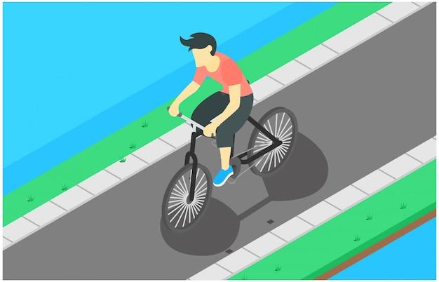 Illustrazione isometrica in bicicletta