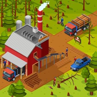 Illustrazione isometrica lumberjack
