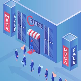 Illustrazione isometrica mega vendita negozio