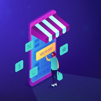 Illustrazione isometrica mobile shopping.