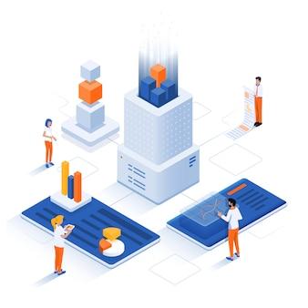 Illustrazione isometrica moderna - concetto di analisi dei dati