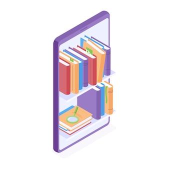Illustrazione isometrica online di educazione e lettura. libri che stanno sugli scaffali per libri in grande smartphone.