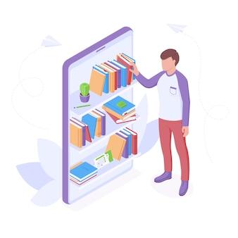 Illustrazione isometrica online di lettura o educazione.