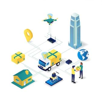 Illustrazione isometrica piana 3d della rete di servizio di distribuzione