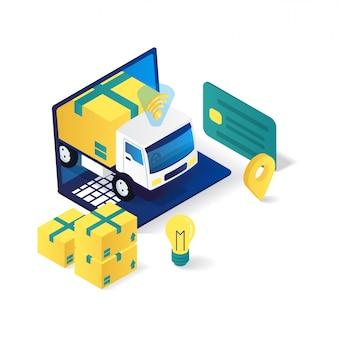 Illustrazione isometrica piana 3d di servizio di consegna online del camion