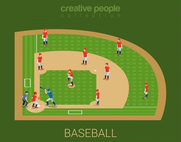 Illustrazione isometrica piana del gioco della partita della concorrenza dello stadio di baseball.