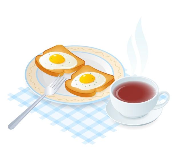 Illustrazione isometrica piana del piatto con le uova sui pani tostati.