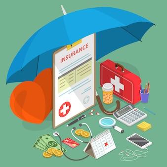 Illustrazione isometrica piana dell'illustrazione dell'assicurazione malattia.