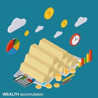 Illustrazione isometrica piana di accumulazione di accumulazione di ricchezza