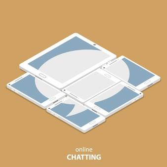 Illustrazione isometrica piana di chiacchierata in diretta di vettore