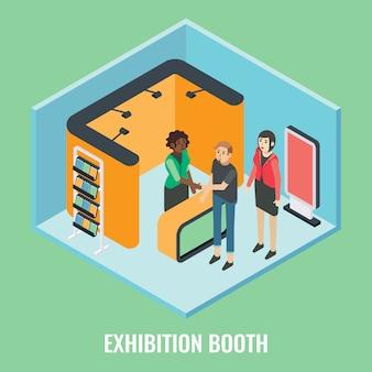 Illustrazione isometrica piana di concetto della cabina di mostra