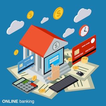 Illustrazione isometrica piana di concetto di attività bancarie online