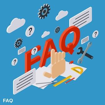 Illustrazione isometrica piana di concetto di faq