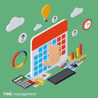 Illustrazione isometrica piana di concetto di gestione di tempo