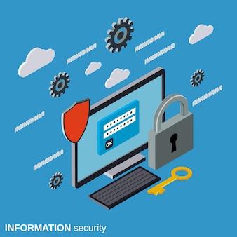 Illustrazione isometrica piana di concetto di sicurezza del computer