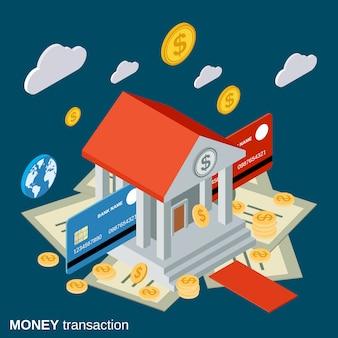 Illustrazione isometrica piana di concetto di transazione dei soldi