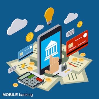 Illustrazione isometrica piana di concetto di vettore 3d di attività bancarie mobili