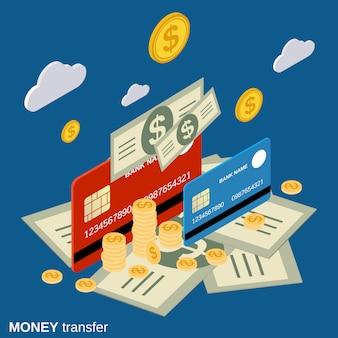 Illustrazione isometrica piana di concetto di vettore del trasferimento di denaro