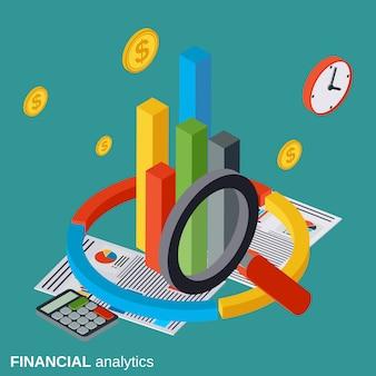 Illustrazione isometrica piana di concetto di vettore di analisi dei dati finanziari