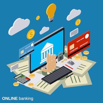 Illustrazione isometrica piana di concetto di vettore di attività bancarie online