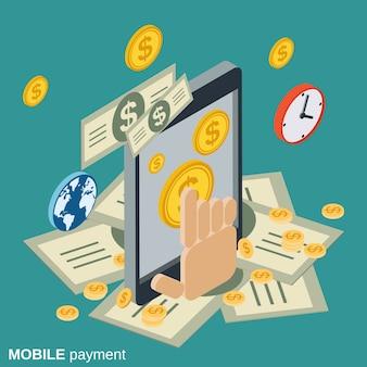 Illustrazione isometrica piana di concetto di vettore di pagamento mobile