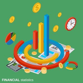 Illustrazione isometrica piana di concetto di vettore di statistiche finanziarie