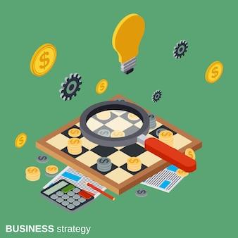 Illustrazione isometrica piana di concetto di vettore di strategia aziendale