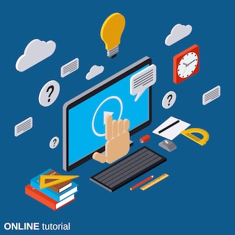 Illustrazione isometrica piana di concetto di vettore di tutorial online