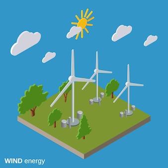 Illustrazione isometrica piana di energia eolica di vettore