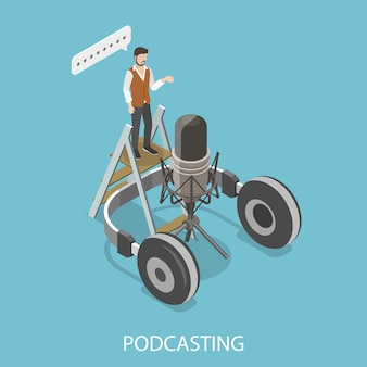 Illustrazione isometrica piana di podcasting.