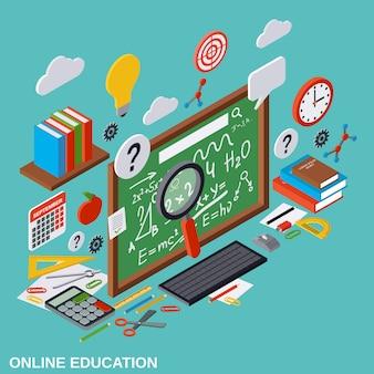 Illustrazione isometrica piana di vettore 3d di istruzione online