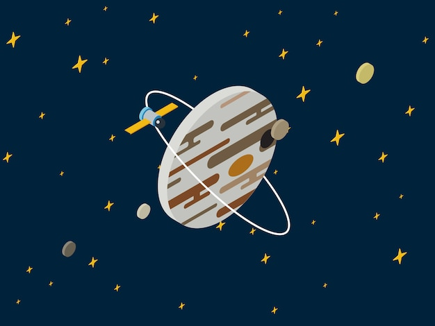 Illustrazione isometrica piana di vettore 3d di ricerca spaziale