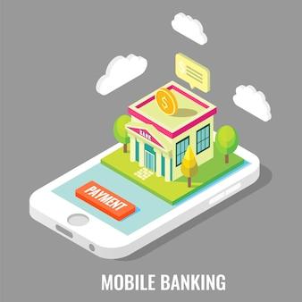 Illustrazione isometrica piana di vettore di attività bancarie mobili