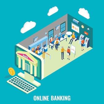 Illustrazione isometrica piana di vettore di attività bancarie online