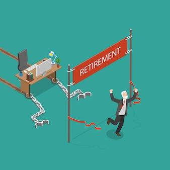 Illustrazione isometrica piana di vettore di pensionamento.