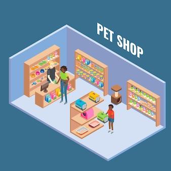 Illustrazione isometrica piana interna tagliata del negozio di animali